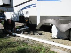 Jim working on hard sewer connection
