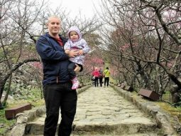 Brett and Abby at steps to Nakijin Castle