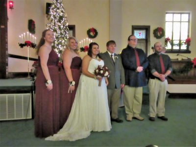 Josh & Clarissa with bride's maids and groomsmen