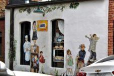 Sweet mural back of bakery