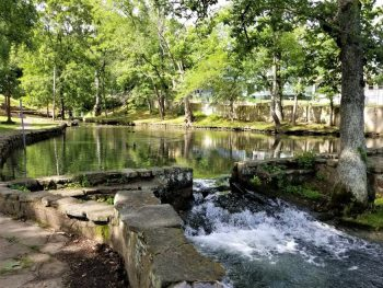 Spring water flows to Yadkin Creek